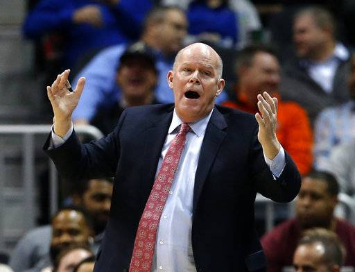Charlotte Hornets coach Steve Clifford reacts after a foul by the team during the second half of the team's NBA basketball game against the Atlanta Hawks on Wednesday, Jan. 31, 2018, in Atlanta. Charlotte won 123-110.