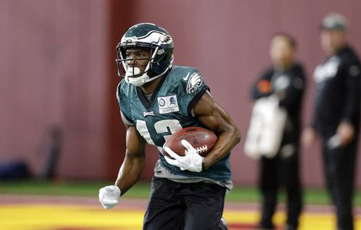 Philadelphia Eagles wide receiver Nelson Agholor (13) during a practice for the NFL Super Bowl 52 football game Wednesday, Jan. 31, 2018, in Minneapolis. Philadelphia is scheduled to face the New England Patriots Sunday.