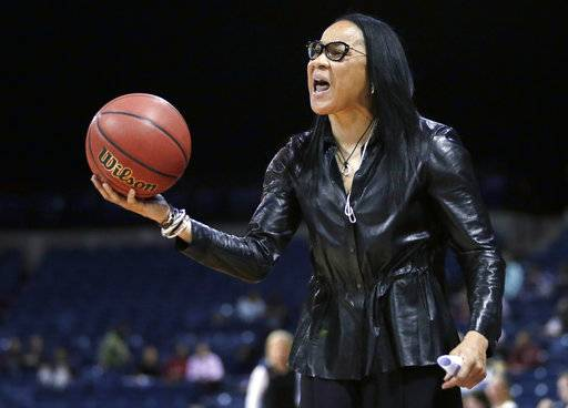 FILE - In this March 27, 2017, file photo, South Carolina head coach Dawn Staley protest a foul during the second half of a regional final against Florida State in the NCAA college basketball tournament in Stockton, Calif. Staley and the Gamecocks have been preparing to play No. 1 UConn while the coach dealt with comments by Missouri athletic director Jim Sterk's comments that she fostered a hostile atmosphere during last Sunday's game against the Tigers.