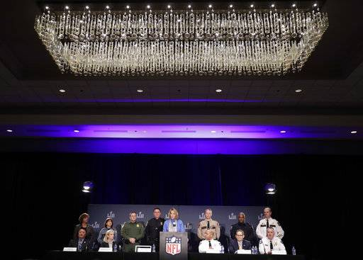 The NFL's Cathy Lanier speaks during a security news conference with law enforcement in advance of the Super Bowl 52 football game, Wednesday, Jan. 31, 2018, in Minneapolis. The Philadelphia Eagles play the New England Patriots on Sunday, Feb. 4, 2018.