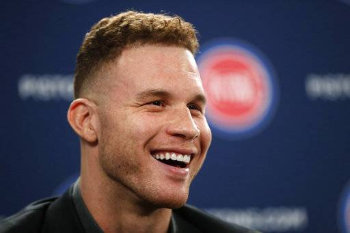 Detroit Pistons' Blake Griffin smiles while talking about his trade from the Los Angeles Clippers to the Pistons during an NBA baseball news conference in Auburn Hills, Mich., Wednesday, Jan. 31, 2018.