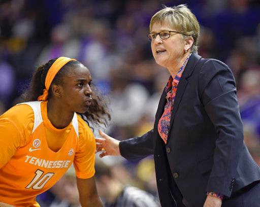 Tennessee head coach Holly Warlick gives instructions to Tennessee guard Meme Jackson (10) in the first half of an NCAA college basketball game, Sunday, Jan. 28, 2018, in Baton Rouge, La. LSU won 70-59.