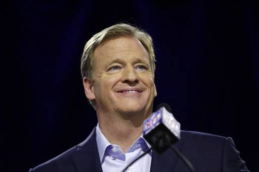 NFL Commissioner Roger Goodell smiles as he speaks during a news conference in advance of the Super Bowl 52 football game, Wednesday, Jan. 31, 2018, in Minneapolis. The Philadelphia Eagles play the New England Patriots on Sunday, Feb. 4, 2018.