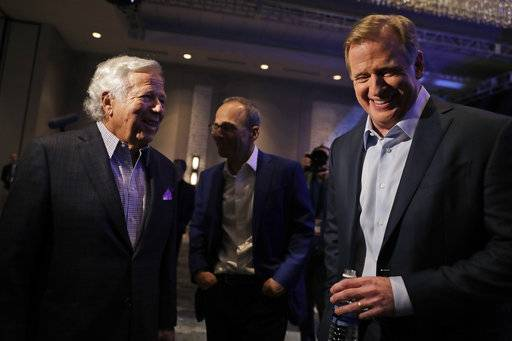 NFL Commissioner Roger Goodell, right, and New England Patriots owner Robert Kraft laugh before a news conference in advance of the Super Bowl 52 football game, Wednesday, Jan. 31, 2018, in Minneapolis. The Philadelphia Eagles play the New England Patriots on Sunday, Feb. 4, 2018.