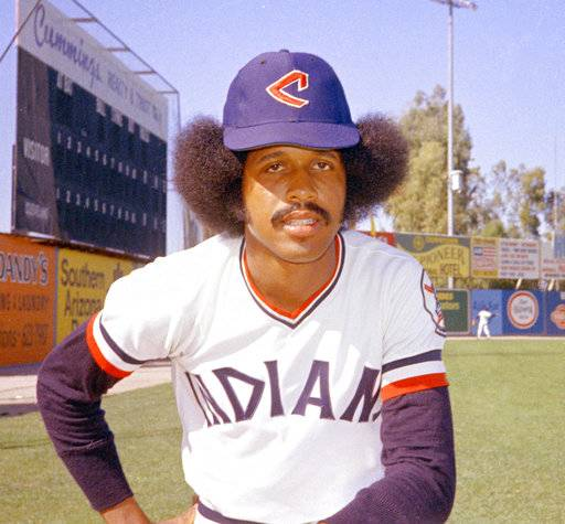 In this 1974 file photo, Cleveland Indians baseball player Oscar Gamble poses. Gamble, an outfielder who hit 200 home runs over 17 major league seasons, died Wednesday, Jan. 31, 2018, of a rare tumor of the jaw. He was 68.