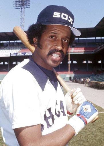 FILE - In this April 11, 1977, file photo, Chicago White Sox baseball player Oscar Gamble poses.  Gamble, an outfielder who hit 200 home runs over 17 major league seasons, died Wednesday, Jan. 31, 2018, of a rare tumor of the jaw. He was 68.