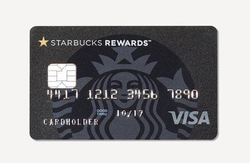 This image provided by Starbucks shows the new Starbucks Rewards credit card, launched in cooperation with JPMorgan Chase and Visa. The Starbucks Rewards credit card has a $49 annual fee and lets cardholders earn free Starbucks drinks and food for purchases made in and out of the coffee chain.