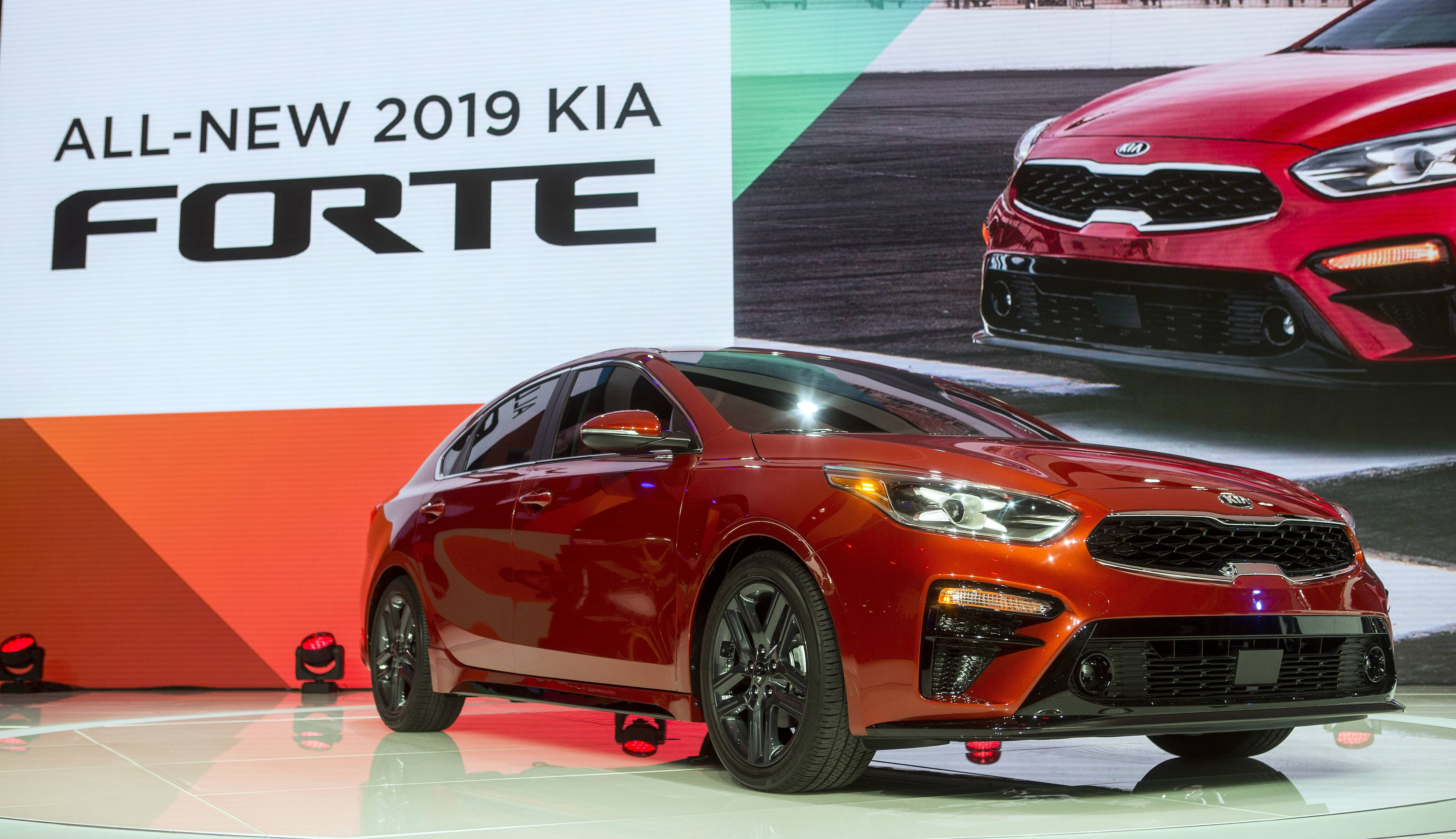 The 2019 Kia Forte sedan is presented at the North American International Auto Show.
