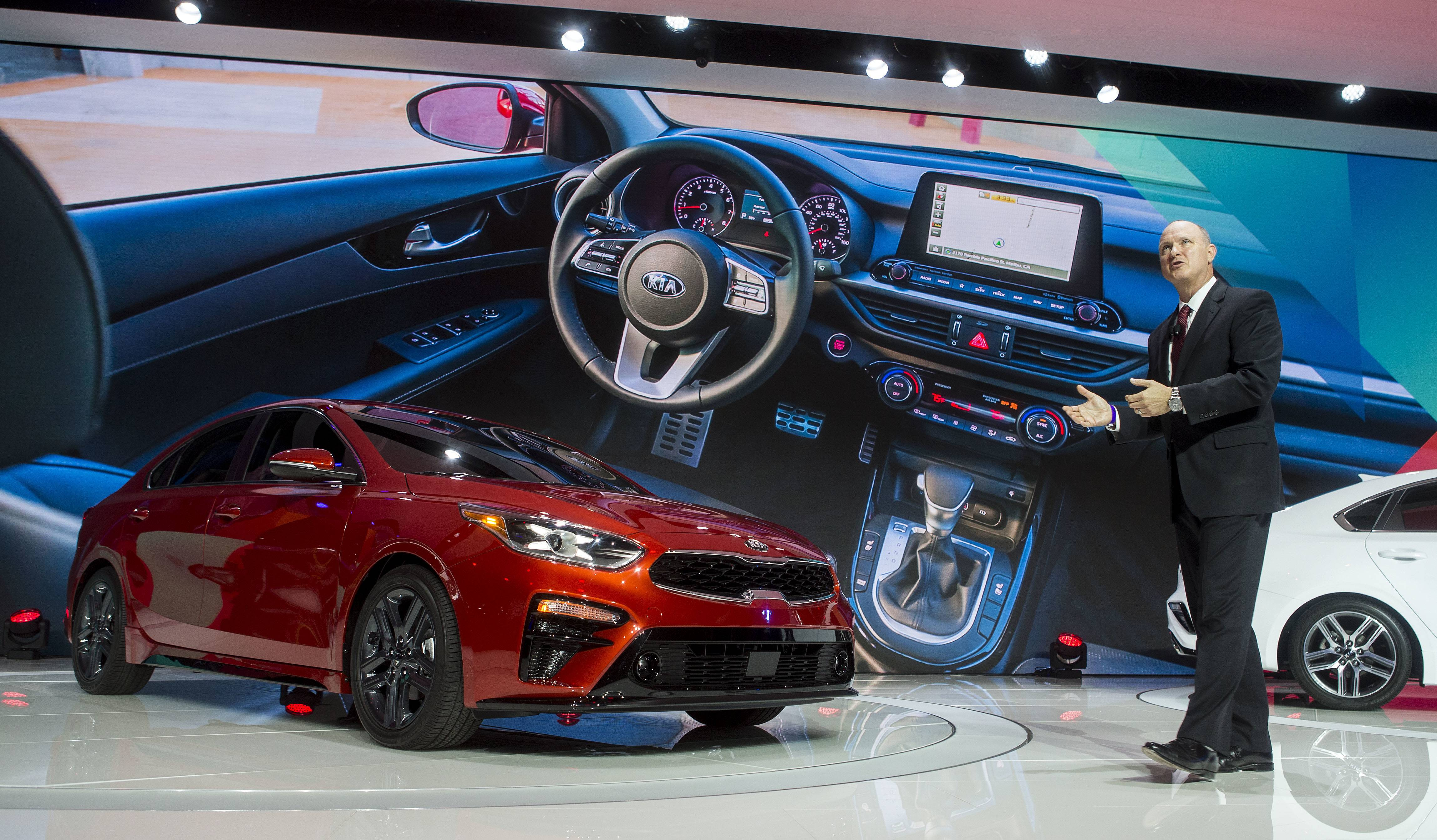 Orth Hedrick, vice president of product planning at Kia Motors America, speaks about the new Kia Forte sedan in Detroit.