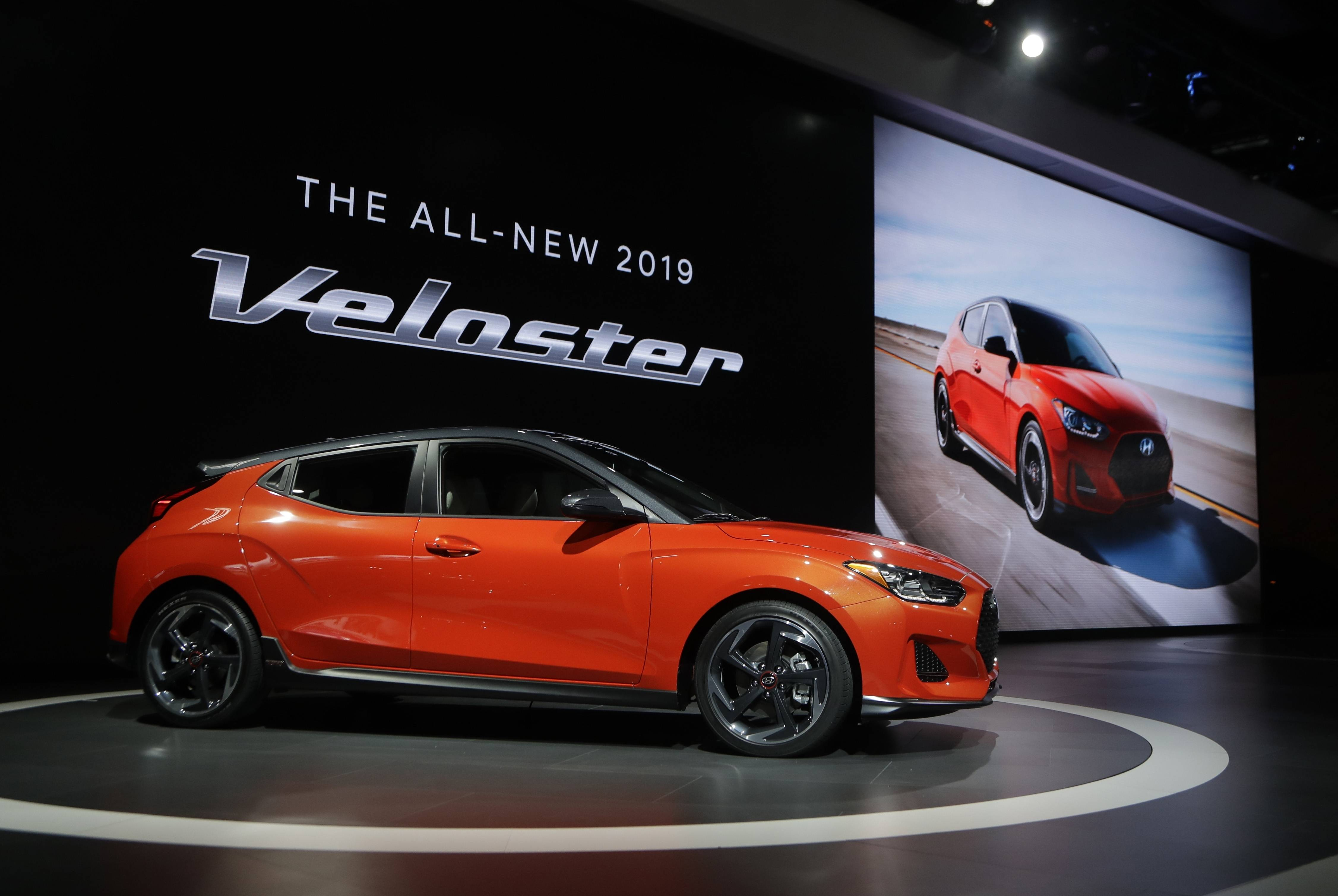 The 2019 Veloster is presented during the North American International Auto Show in Detroit.