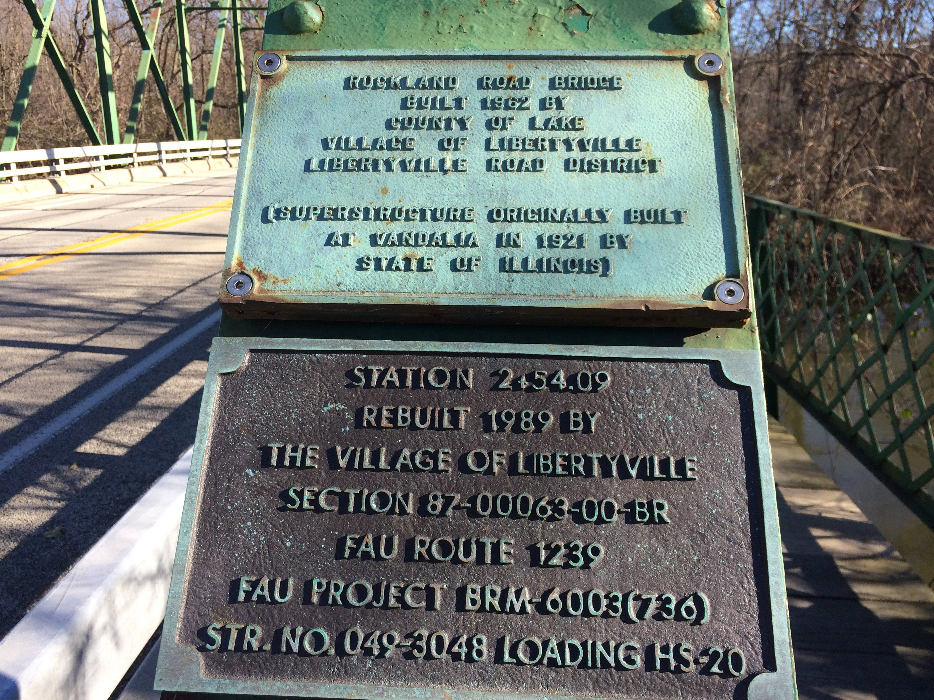 A plaque on the Rockland Road bridge in Libertyville.