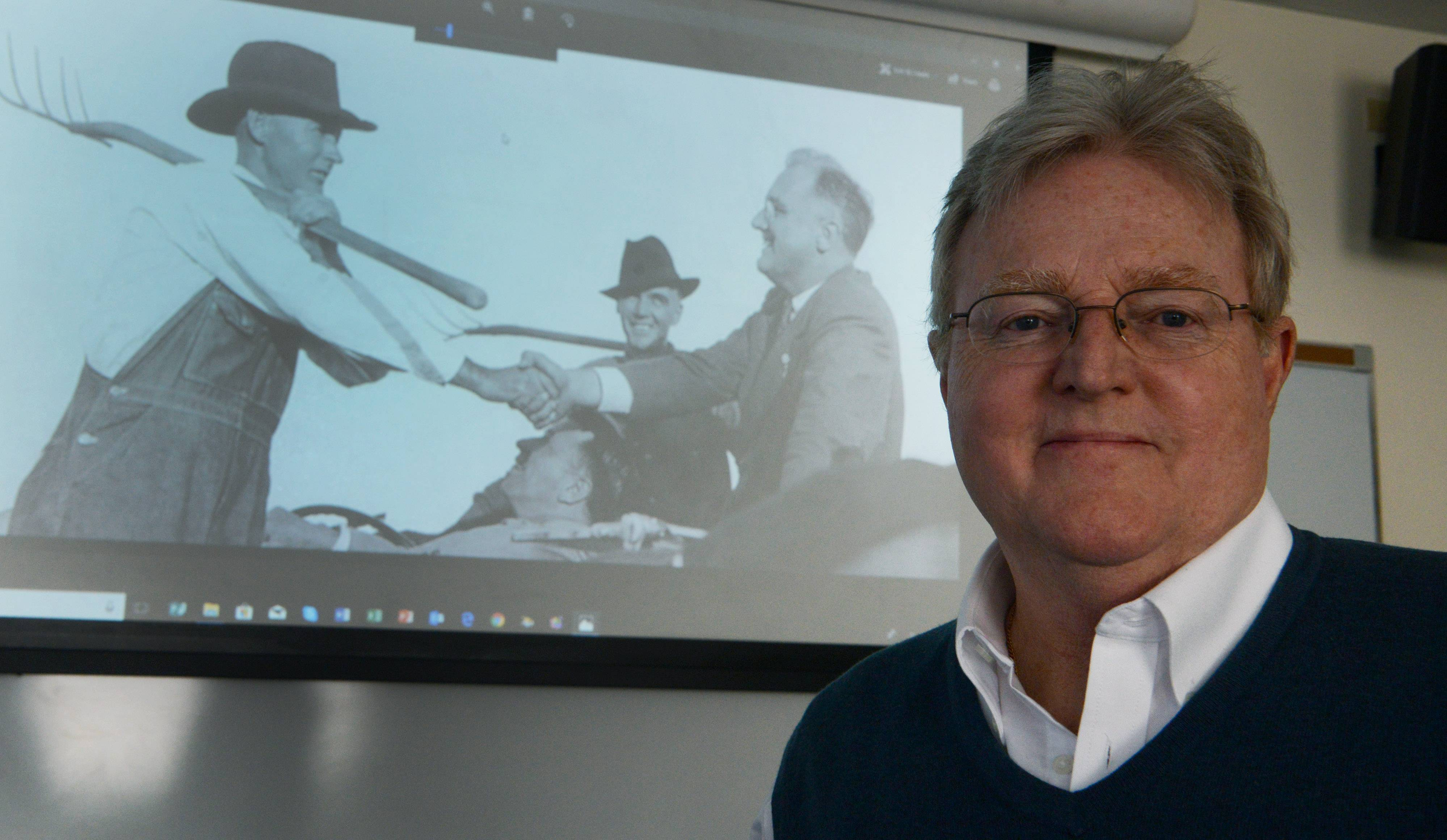 John LeGear's fascination with people's lives during the Great Depression led him to create a video montage of historic photos, points of history and music. Then, he kept going -- expanding it to a three-hour presentation covering 100 years that will be presented at Harper College in two parts Feb. 2 and Feb. 9.