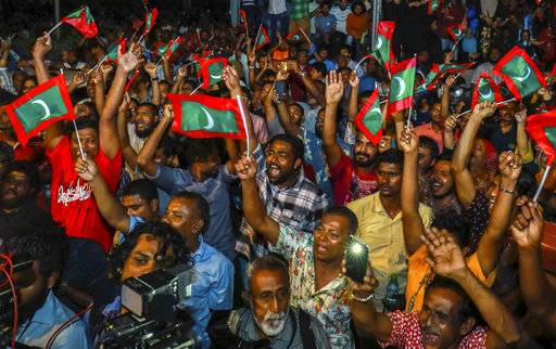 Maldivian opposition protestors shout slogans demanding the release of political prisoners during a protest in Male, Maldives, Friday, Feb. 2, 2018. Supporters of political parties that oppose the Maldives government have clashed with police on the streets of the capital after the country's supreme court ordered the release of imprisoned politicians.