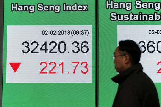 A man walks past an electronic stock board showing the Hang Seng Index at a bank in Hong Kong, Friday, Feb. 2, 2018. Asian shares were mostly lower Friday as investors evaluated the latest earnings reports and worries about rising U.S. bond yields weighed on sentiment.