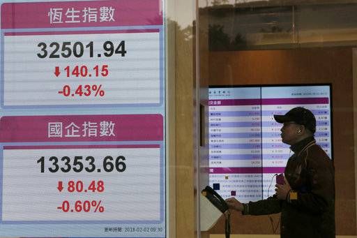 A man studies share price next to an electronic stock board showing the Hang Seng Index at a bank in Hong Kong, Friday, Feb. 2, 2018. Asian shares were mostly lower Friday as investors evaluated the latest earnings reports and worries about rising U.S. bond yields weighed on sentiment.