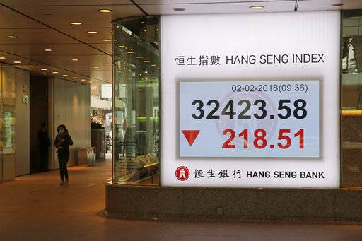 An electronic stock board showing the Hang Seng Index is displayed at a bank in Hong Kong, Friday, Feb. 2, 2018. Asian shares were mostly lower Friday as investors evaluated the latest earnings reports and worries about rising U.S. bond yields weighed on sentiment.
