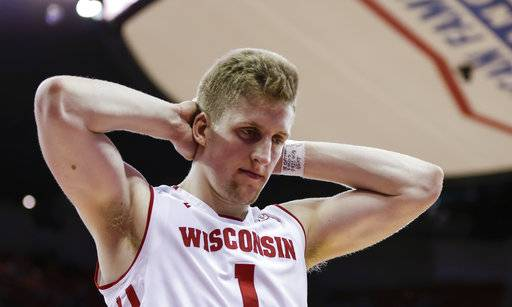 Wisconsin's Brevin Pritzl reacts in the final seconds of Wisconsin's 60-52 loss to Northwestern during an NCAA college basketball game Thursday, Feb. 1, 2018, in Madison, Wis.