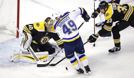 Boston Bruins defenseman Zdeno Chara, right, breaks up a shot by St. Louis Blues center Ivan Barbashev (49) as goalie Tuukka Rask drops to make a save during the first period of an NHL game in Boston, Thursday, Feb. 1, 2018.