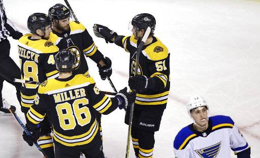 Boston Bruins center David Krejci, second from top left, is congratulated by teammates after his goal during the first period of an NHL game against the St. Louis Blues in Boston, Thursday, Feb. 1, 2018.