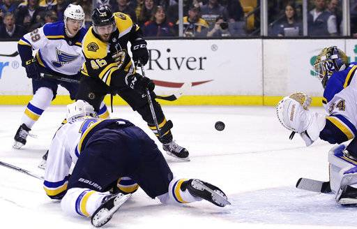 Boston Bruins center David Krejci (46) takes a shot against St. Louis Blues goaltender Jake Allen (34) during the second period of an NHL game in Boston, Thursday, Feb. 1, 2018.
