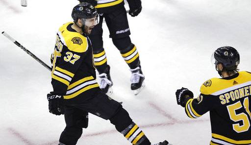 Boston Bruins center Patrice Bergeron (37) celebrates after his goal during the third period of an NHL hockey game against the St. Louis Blues in Boston, Thursday, Feb. 1, 2018.