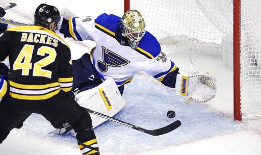 St. Louis Blues goaltender Jake Allen (34) drops to the ice to glove a save on a shot by Boston Bruins right wing David Backes (42) during the third period of an NHL hockey game in Boston, Thursday, Feb. 1, 2018.