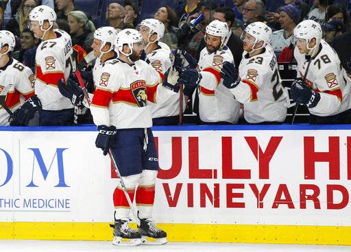 Florida Panthers defenseman Keith Yandle (3) celebrates his goal with teammates during the first period of an NHL hockey game against the Buffalo Sabres, Thursday, Feb. 1, 2018, in Buffalo, N.Y.