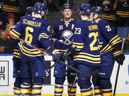 Buffalo Sabres forward Jack Eichel (15) celebrates with teammates during the first period of an NHL hockey game against the Florida Panthers, Thursday, Feb. 1, 2018, in Buffalo, N.Y.