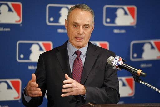 Major League Baseball commissioner Rob Manfred speaks during a news conference at the baseball owners meetings in the Four Seasons Hotel, Thursday, Feb. 1, 2018, in Los Angeles.