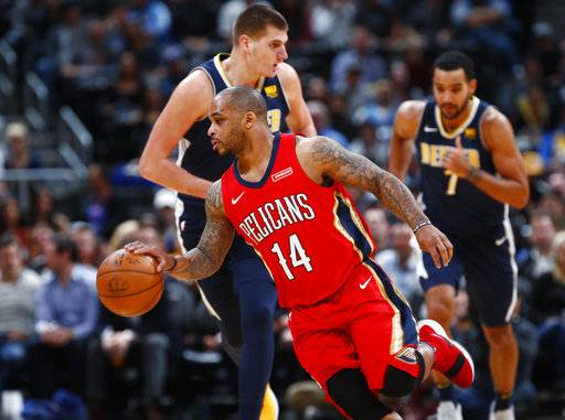 FILE- In this Dec. 15, 2017, file photo, New Orleans Pelicans guard Jameer Nelson, front, picks up the ball in front of Denver Nuggets center Nikola Jokic, center, of Serbia, and forward Trey Lyles in the first half of an NBA basketball game in Denver.  A person familiar with the decision says the New Orleans Pelicans have acquired forward Nikola Mirotic and a second-round draft pick from the Chicago Bulls for center Omer Asik, guards Jameer Nelson and Tony Allen, and a future first-round pick. The person spoke to The Associated Press on condition of anonymity Thursday, Feb. 1, 2018,  because neither team has announced the trade.