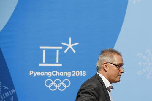 Matthieu Reeb, CAS Secretary General, leaves a press conference after speaking about Russian athletes who are challenging the decisions taken by the Disciplinary Commission of the International Olympic Committee (IOC DC) ahead of the 2018 Winter Olympics in Pyeongchang, South Korea, Thursday, Feb. 1, 2018.