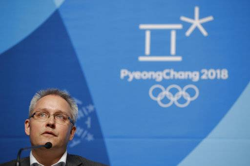 Matthieu Reeb, CAS Secretary General, speaks during a press conference about Russian athletes who are challenging the decisions taken by the Disciplinary Commission of the International Olympic Committee (IOC DC) ahead of the 2018 Winter Olympics in Pyeongchang, South Korea, Thursday, Feb. 1, 2018.