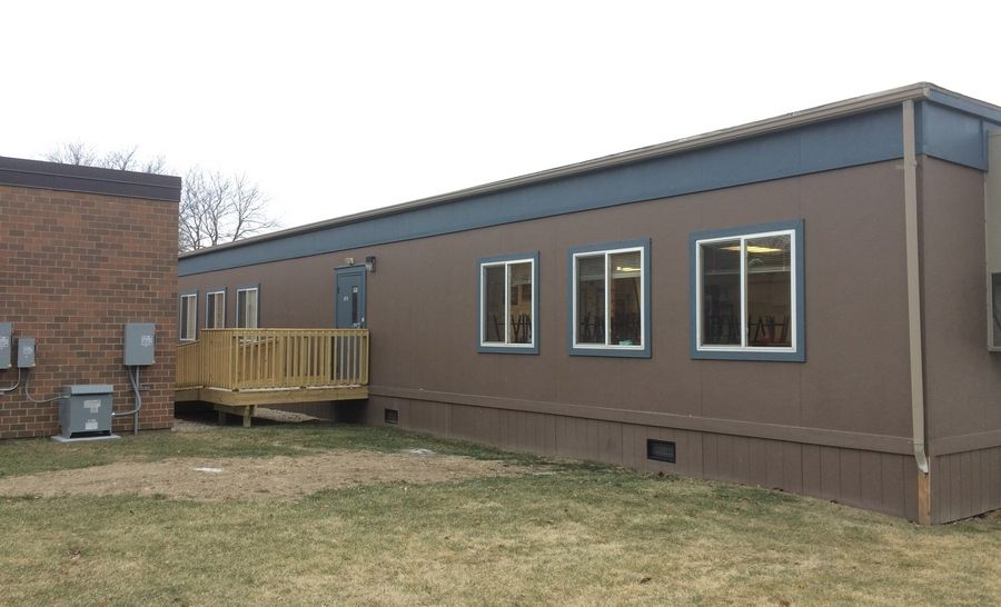 Mobile classrooms at Hawthorn Elementary South in Vernon Hills.