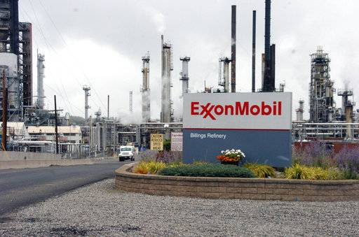 FILE - This Wednesday, Sept. 21, 2016, file photo shows Exxon Mobil's Billings Refinery in Billings, Mont. Exxon Mobil Corp. reports earnings Friday, Feb. 2, 2018.