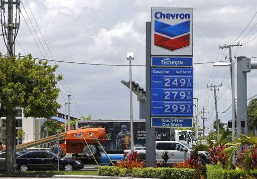 This Tuesday, May 2, 2017, photo shows a Chevron sign at a gas station in Miami. Chevron Corp. reports earnings, Friday, Feb. 2, 2018.