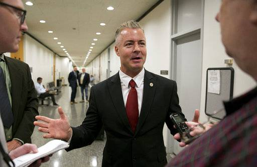 FILE - In this Sept. 22, 2017 file photo, Republican gubernatorial candidate Assemblyman Travis Allen, R-Huntington Beach, discusses a judge's ruling in Sacramento, Calif. Documents released Friday, Feb. 2, 2018, by the California Legislature show four current lawmakers faced sexual misconduct complaints since 2006. The documents outline complaints against Democratic Assemblywoman Autumn Burke of Los Angeles, Republican Assemblyman Travis Allen of Huntington Beach, Democratic Sen. Tony Mendoza of Artesia and Democratic Sen. Bob Hertzberg of Van Nuys.