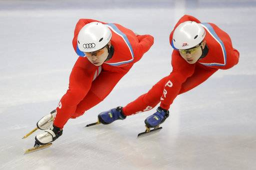 CORRECT TO NORTH KOREA, NOT SOUTH KOREA - North Korea's Choe Un Song, left and Jong Kwang Bom during a Men's Short Track Speed Skating training session ahead of the 2018 Winter Olympics in Gangneung, South Korea, Friday, Feb. 2, 2018.
