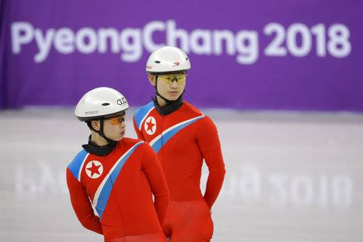 CORRECT TO NORTH KOREA, NOT SOUTH KOREA - North Korea's Choe Un Song, left, and Jong Kwang Bom attend a Men's Short Track Speed Skating training session ahead of the 2018 Winter Olympics in Gangneung, South Korea, Friday, Feb. 2, 2018.