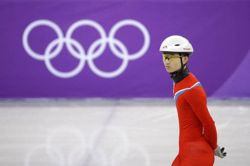 CORRECT TO NORTH KOREA, NOT SOUTH KOREA - North Korea's Jong Kwang Bom skates during a Men's Short Track Speed Skating training session ahead of the 2018 Winter Olympics in Gangneung, South Korea, Friday, Feb. 2, 2018.