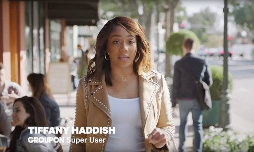 This frame grab from video provided by Groupon shows a scene from the company's Super Bowl spot, featuring Tiffany Haddish. For the 2018 Super Bowl, marketers are paying more than $5 million per 30-second spot to capture the attention of more than 110 million viewers. (Courtesy of Groupon via AP)