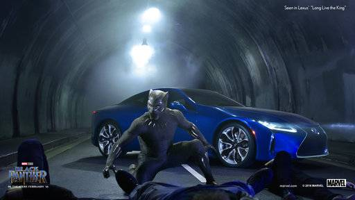 "This photo provided by Lexus shows an image of the Lexus ""Black Panther"" Super Bowl spot. For the 2018 Super Bowl, marketers are paying more than $5 million per 30-second spot to capture the attention of more than 110 million viewers. (Courtesy of Lexus via AP)"