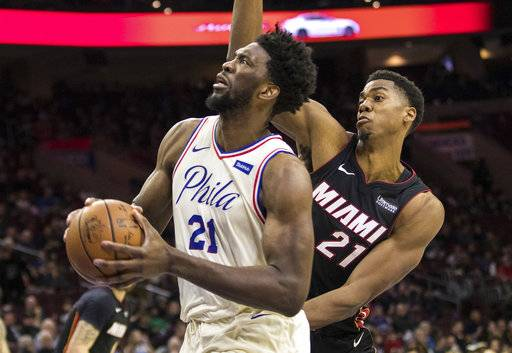 Philadelphia 76ers' Joel Embiid, left, of Cameroon, drives to the basket as he gets past Miami Heat's Hassan Whiteside, right, during the second half of an NBA basketball game, Friday, Feb. 2, 2018, in Philadelphia.