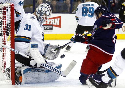San Jose Sharks goalie Martin Jones, left, makes a stop against Columbus Blue Jackets forward Cam Atkinson during the second period of an NHL hockey game in Columbus, Ohio, Friday, Feb. 2, 2018.