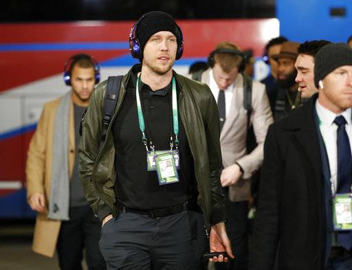 Philadelphia Eagles quarterback Nick Foles arrives before the NFL Super Bowl 52 football game against the New England Patriots Sunday, Feb. 4, 2018, in Minneapolis.