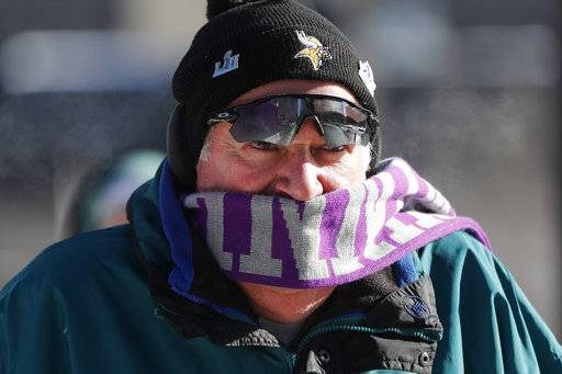 A fan braves cold temperatures as he makes his way to U.S. Bank Stadium for the NFL Super Bowl 52 football game between the Philadelphia Eagles and the New England Patriots Sunday, Feb. 4, 2018, in Minneapolis.