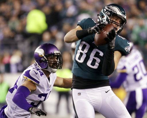FILE - In this Sunday, Jan. 21, 2018, file photo Philadelphia Eagles' Zach Ertz catches a pass in front of Minnesota Vikings' Andrew Sendejo during the first half of the NFL football NFC championship game in Philadelphia. The Eagles and the New England Patriots are set to meet in Super Bowl 52 on Sunday, Feb. 4, 2018, in Minneapolis.