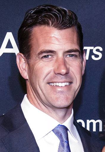 This May 1, 2017 photo provided by CAA Sports, shows Brodie Van Wagenen, co-head of CAA Baseball, in Washington, DC. Van Wagenen said, Friday, Feb. 2, 2018, that baseball players should consider boycotting spring training because of the slow free-agent market. J.D. Martinez, Eric Hosmer, Mike Moustakas, Jake Arrieta, Alex Cobb, Greg Holland and Lance Lynn remain among the dozens of unsigned players with the Feb. 14 start of spring training less than two weeks away. (Paul Kim/CAA Sports via AP)