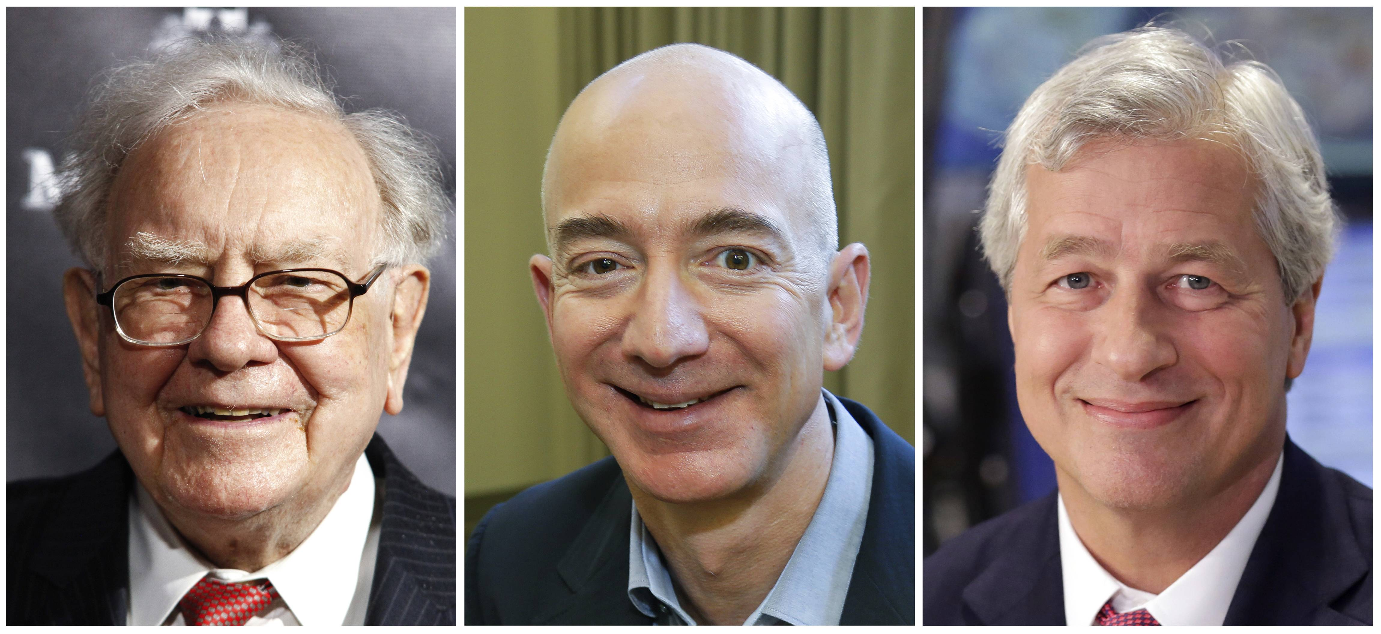 Warren Buffett, Jeff Bezos, and JPMorgan Chase Chairman and CEO Jamie Dimon. Buffett's Berkshire Hathaway, Amazon and the New York bank JPMorgan Chase are teaming up to create a health care company.