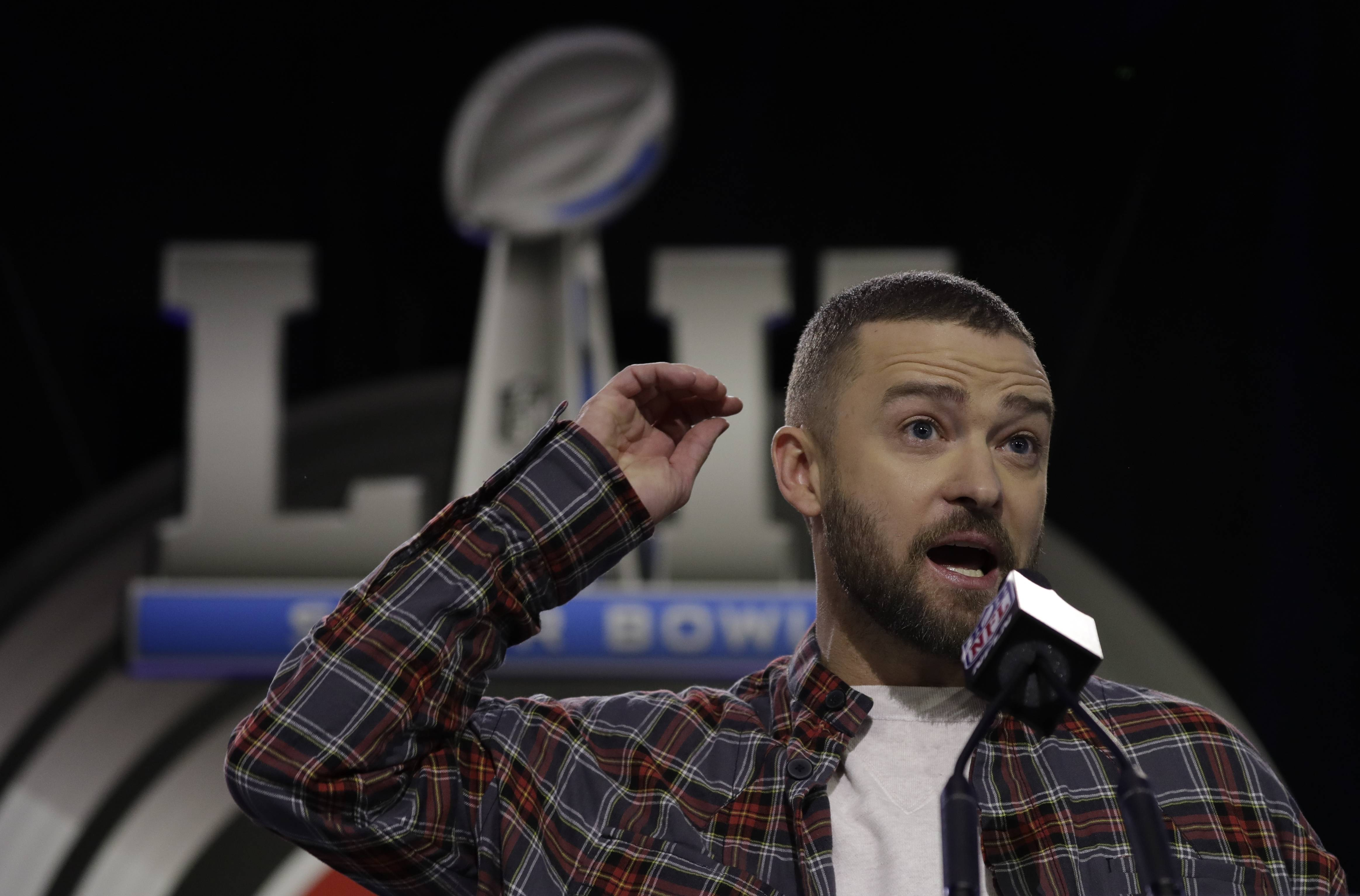 Justin Timberlake answers questions Thursday during a news conference for the NFL Super Bowl halftime show in Minneapolis.