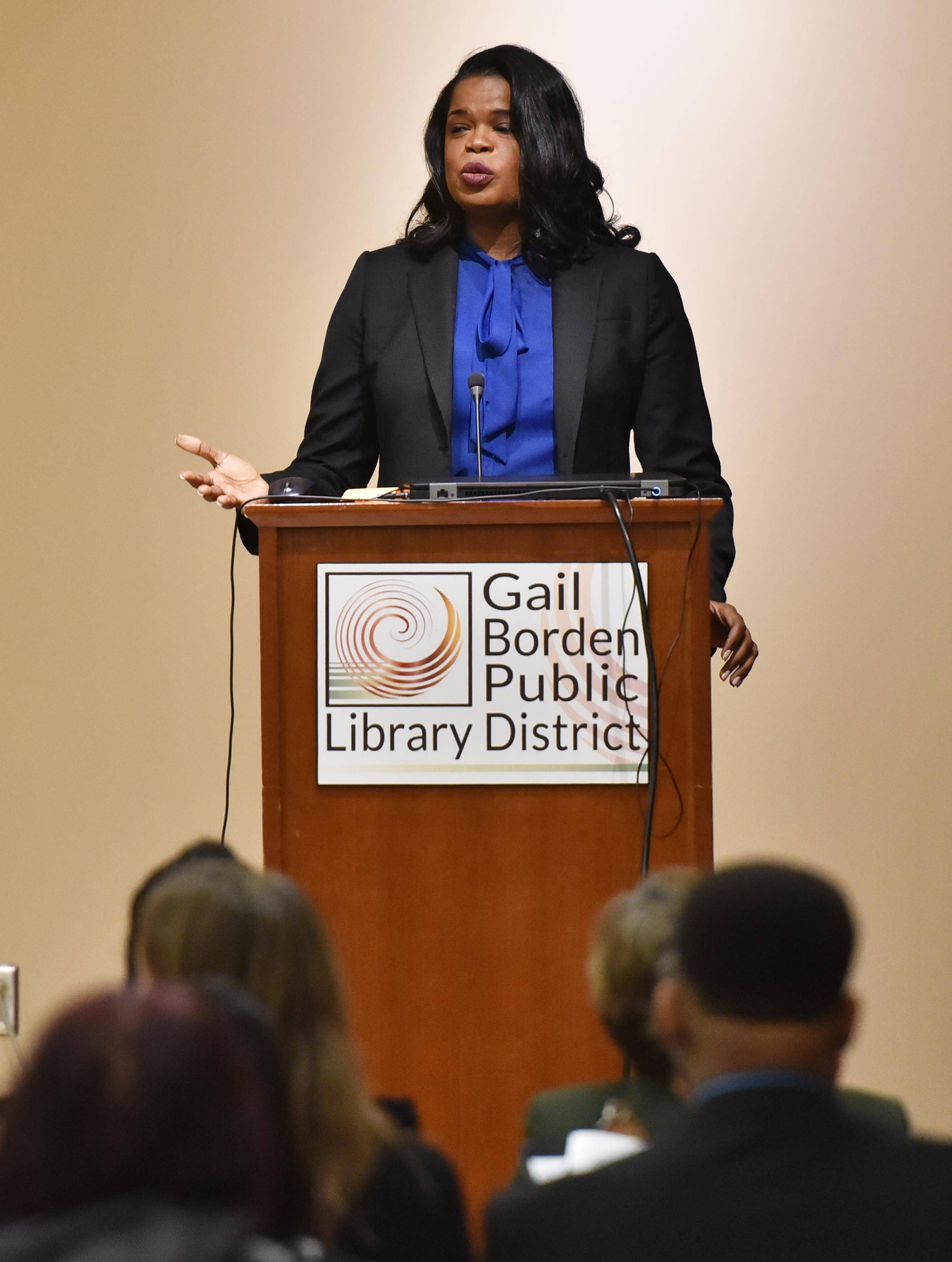 Cook County State's Attorney Kim Foxx delivers the keynote speech Saturday at the Black History Family Festival at the Gail Borden Public Library in Elgin.